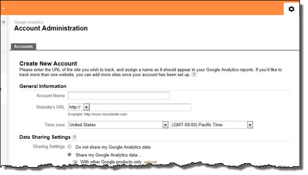 Google Analytics Setting Page