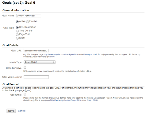 Google Analytics Goal Setup Step 2