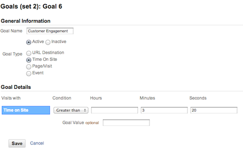 Google Analytics Goal Setup Time on Site