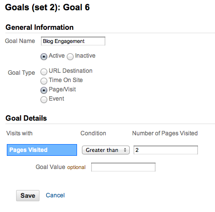 Google Analytics Goal Setup Pages