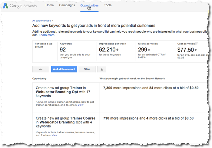 AdWords Opportunity Tab