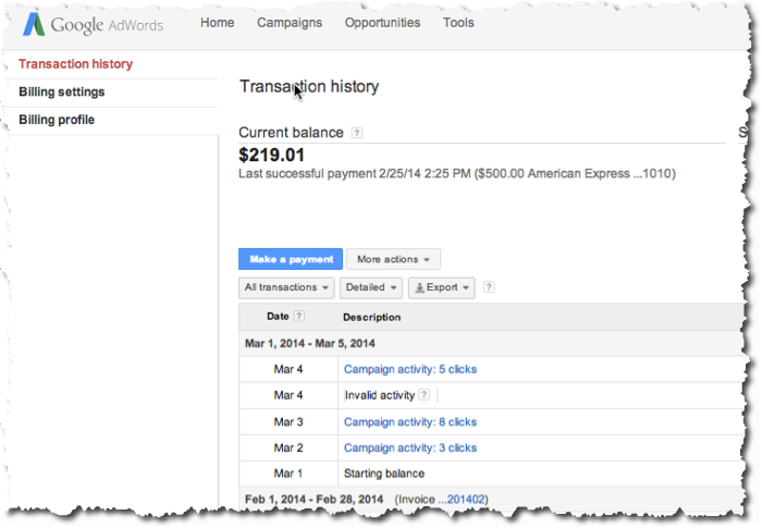 AdWords Billing Tab