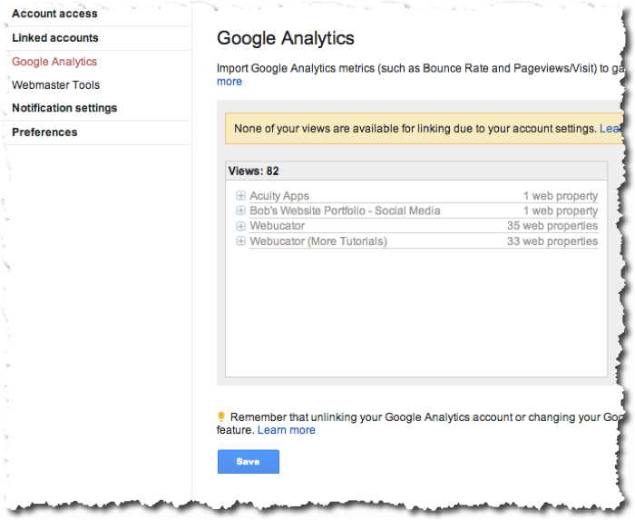 Linking GA to AdWords