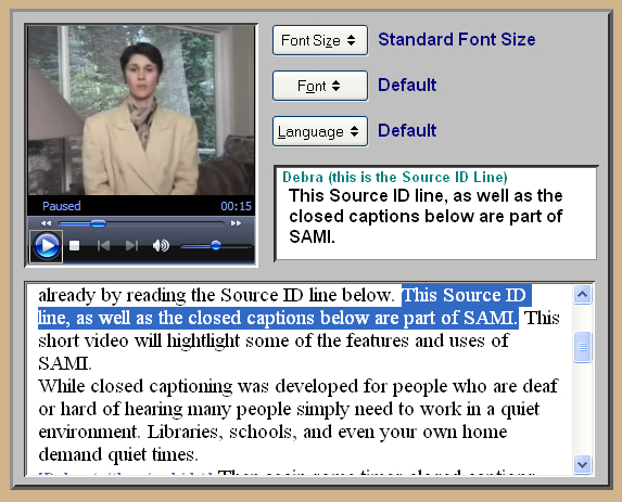 Screen shot of SAMI with captions