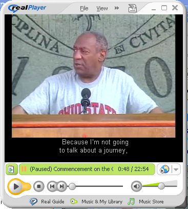 Screen Shot of RealPlayer with captions