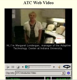 Screenshot of ATC example of captioned video