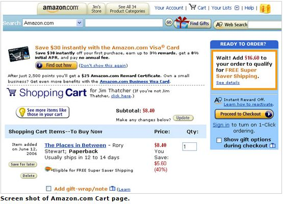 Amazon.com cart page, screenshot