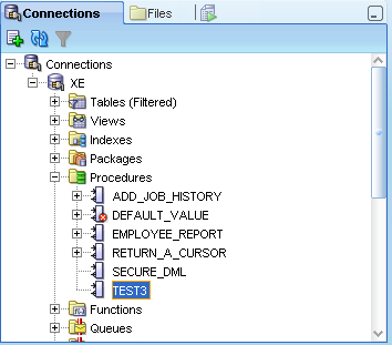 SQL Developer view of Procedures