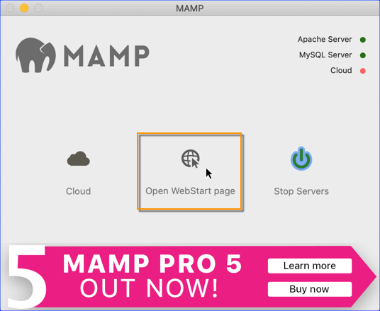 MAMP - Open WebStart Page