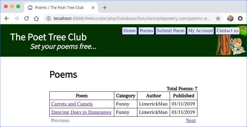 phppoetry.com poems.php with pagination