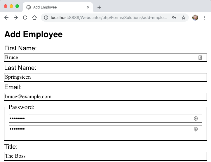 Add Employee Form - Filled 1