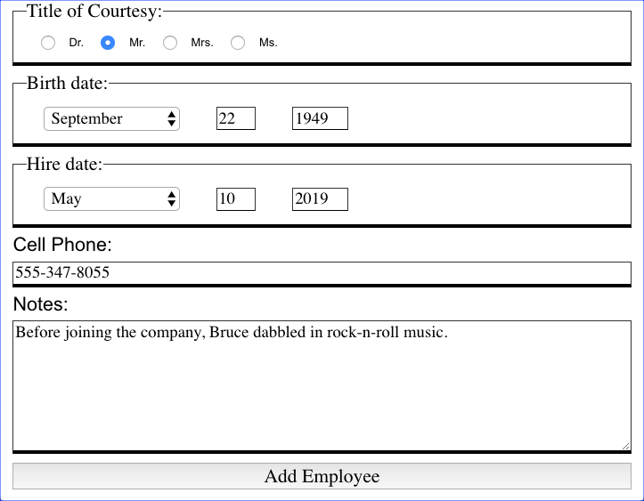 Add Employee Form - Filled 2