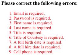 Add Employee Error Messages