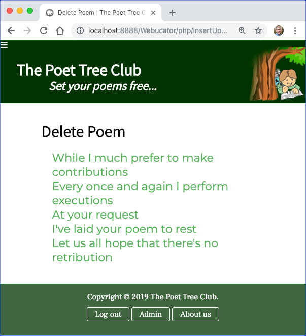 phppoetry.com Delete Poem Confirmed