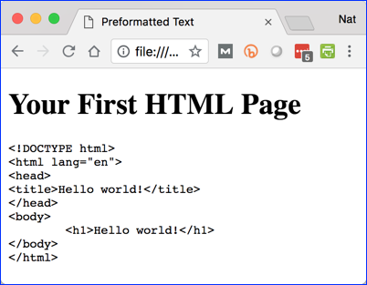 First HTML Page