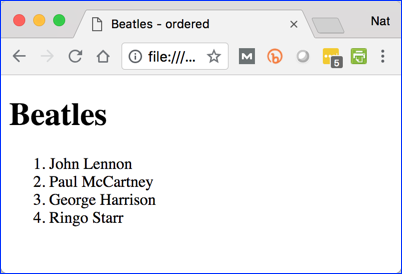 Beatles Ordered List