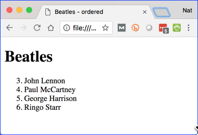 Beatles Ordered List with Start