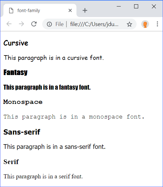 font-family Demo