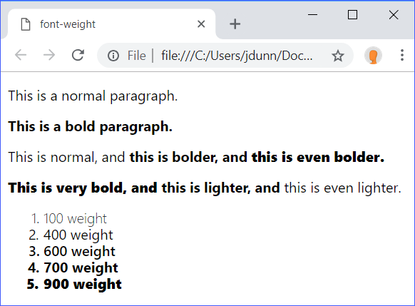 font-weight Demo