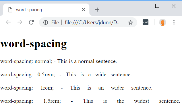 word-spacing Demo