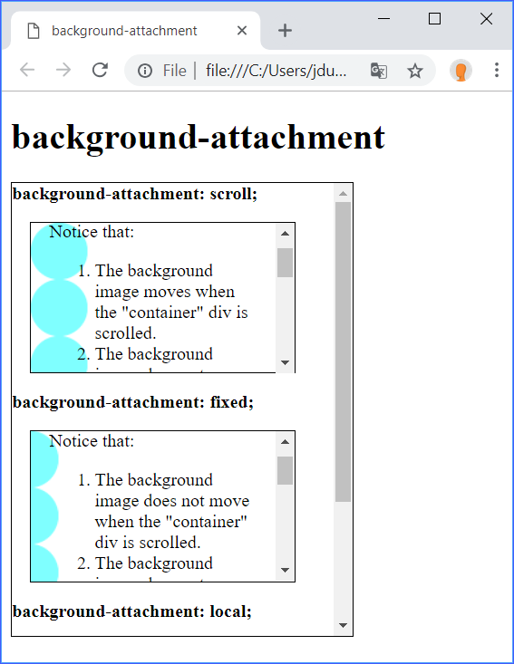 background-attachment Demo