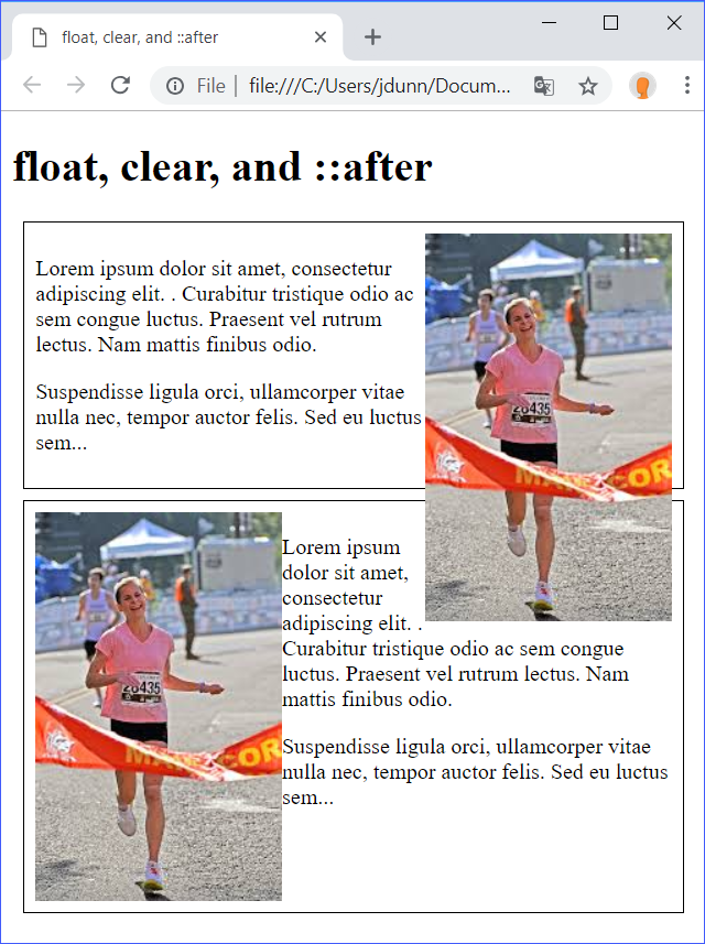 float, clear, ::after Demo