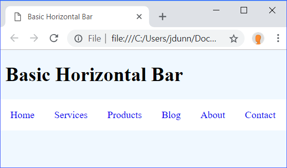 Basic Horizontal Bar