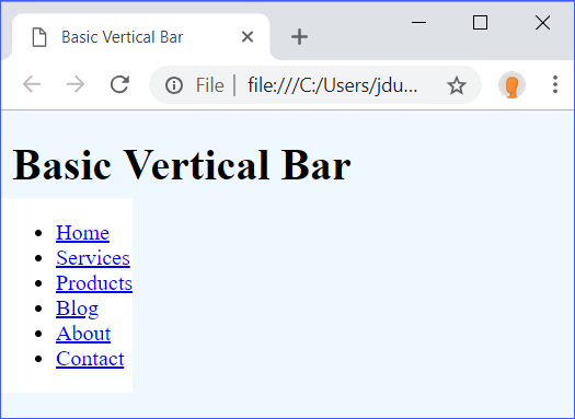 Basic Vertical Bar Step 1