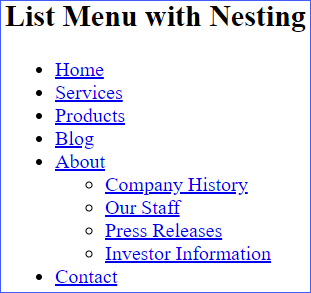 List Menu with Nesting