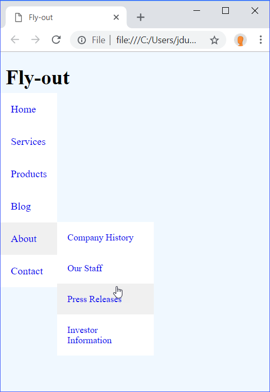 Fly-out Menu