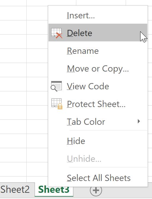 Delete Sheet