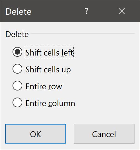 Delete Cell