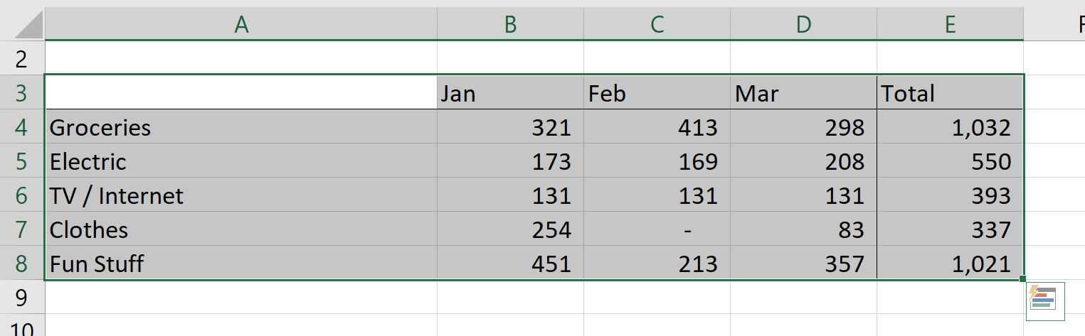 Select Rows and Columns