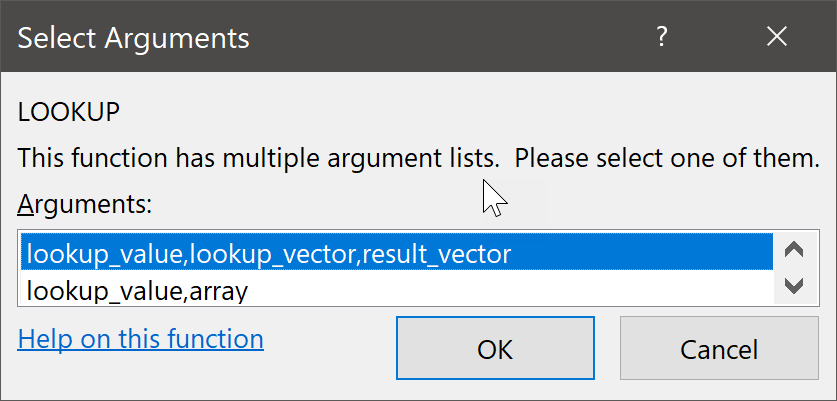 Select Arguments Dialog Box