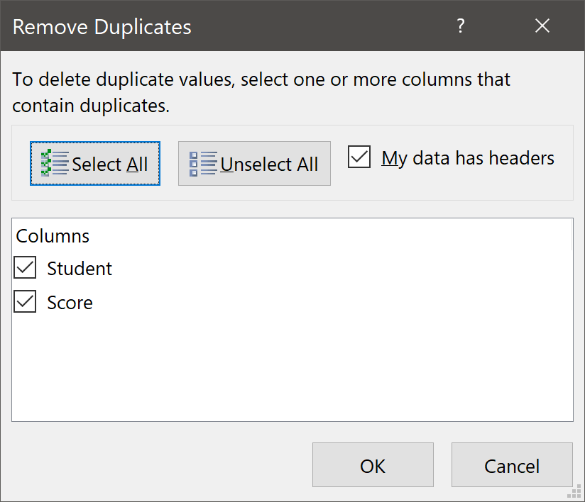 Remove Duplicates Dialog Box