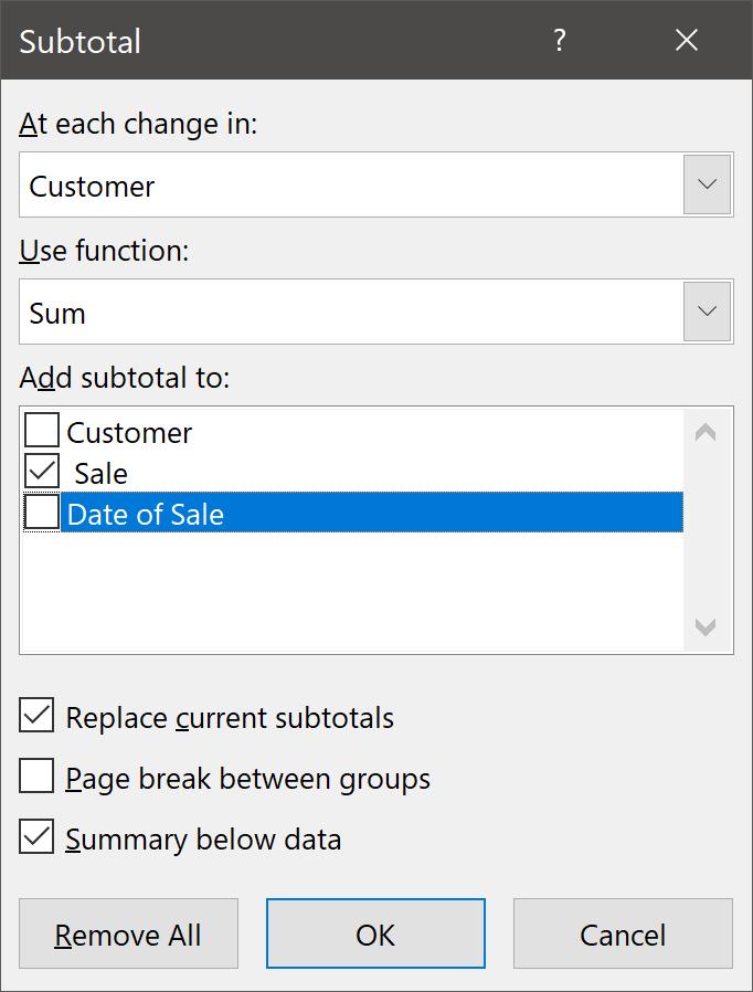 Subtotal Dialog Box