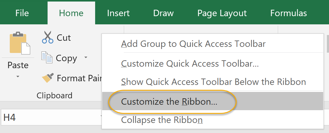 Customize Ribbon