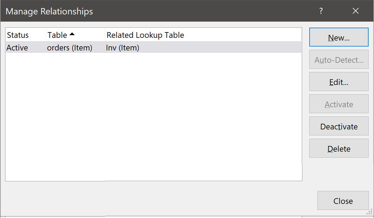 Manage Relationships Dialog Box
