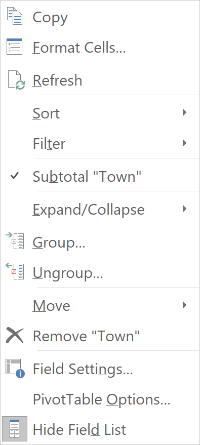 PivotTable Option