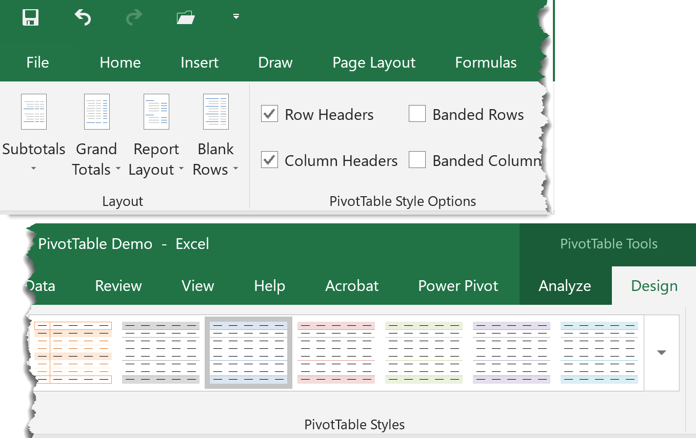 PivotTable Tools Design Tab