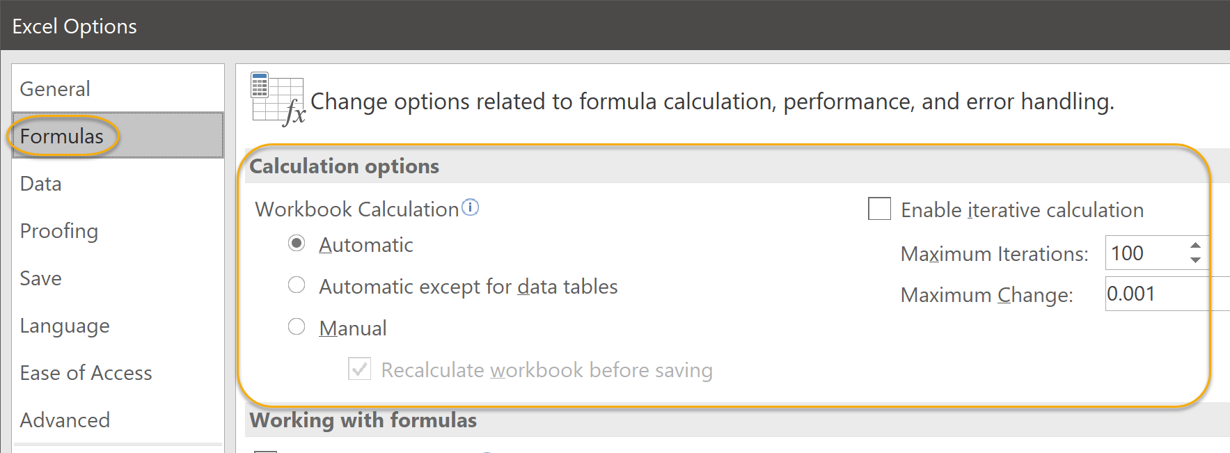 Formulas Options