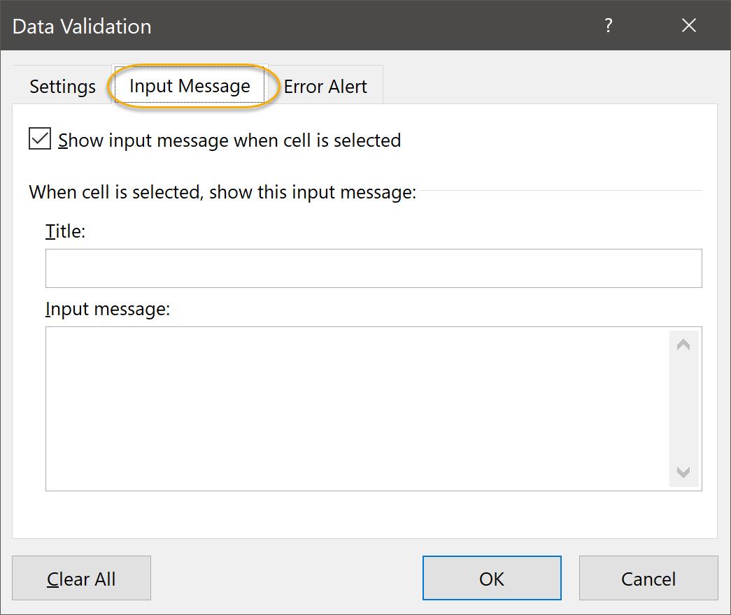 Input Message Tab