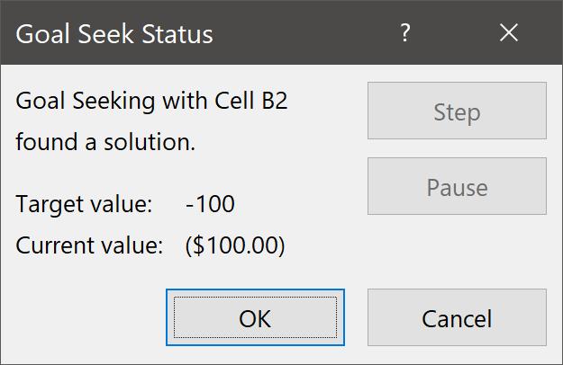 Goal Seek Status