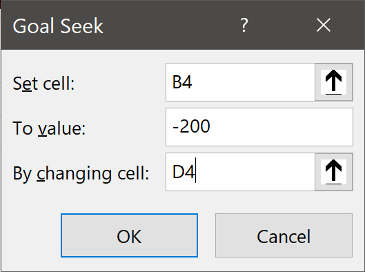 Goal Seek Dialog Box
