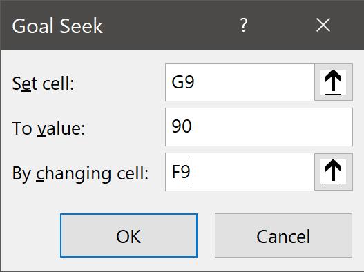 Goal Seek Status Dialog Box