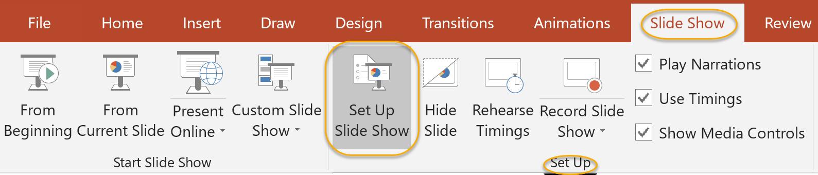 Set Up Slide Show Command