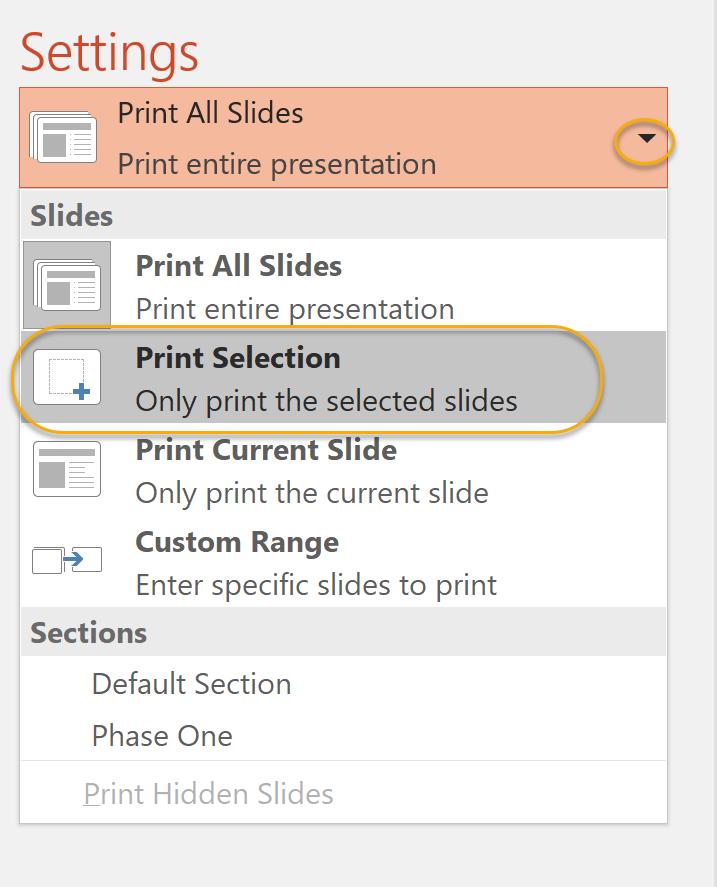 Print Selection
