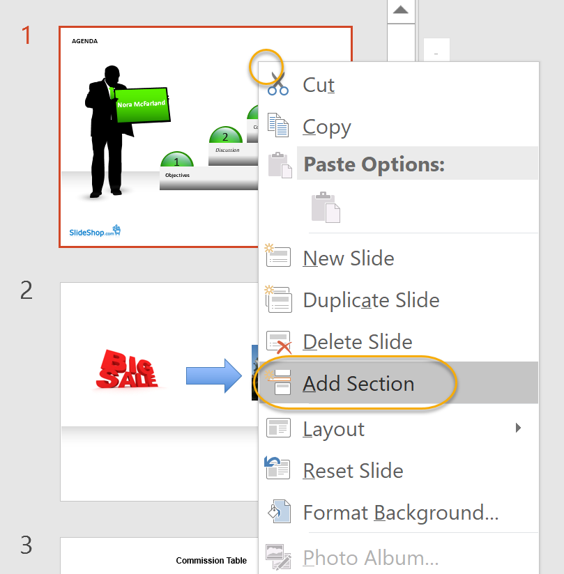 Add Section Command