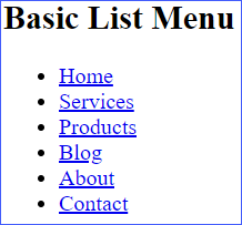 Basic List Menu