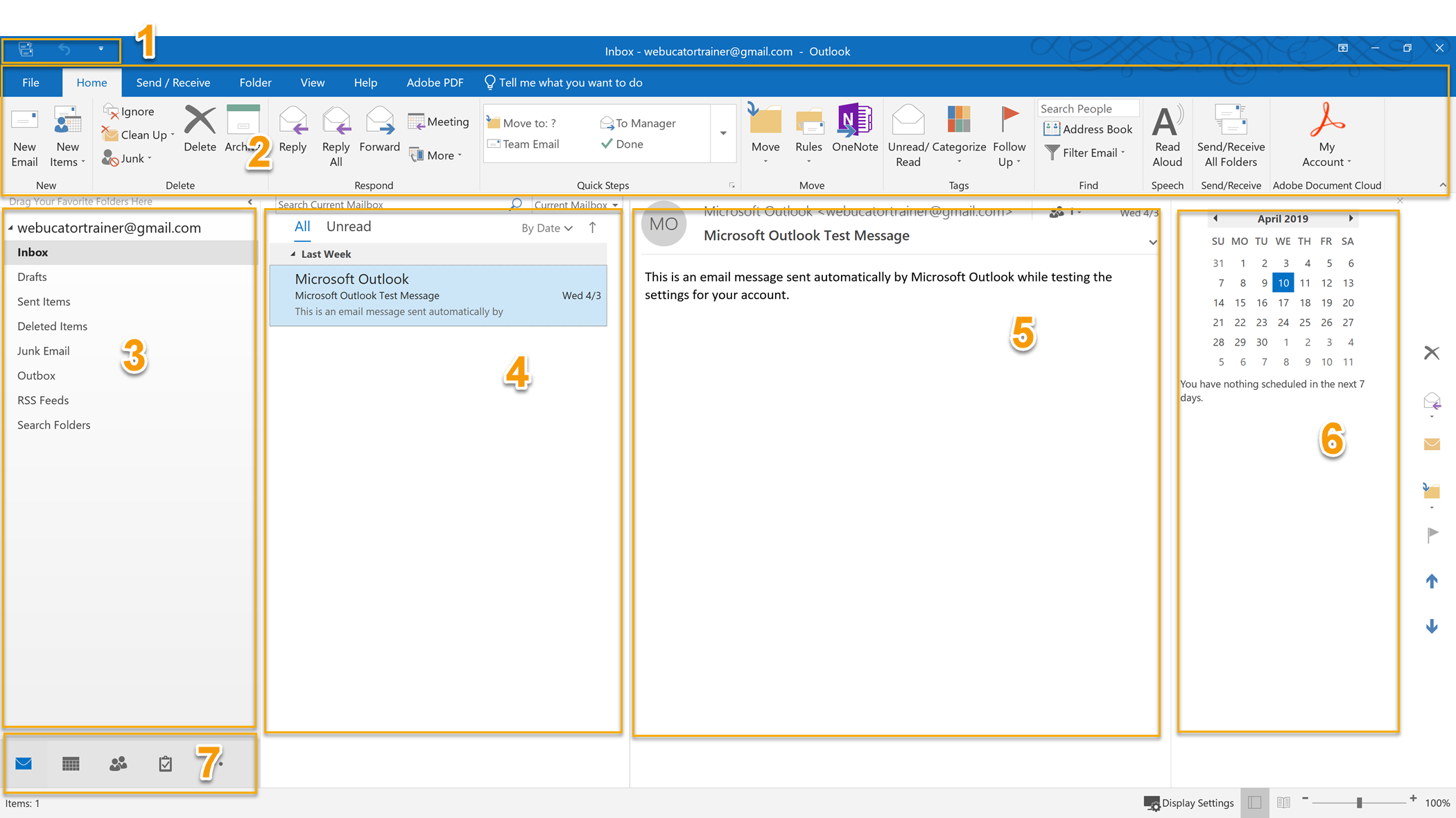 Tutorial: The Outlook 2019 Interface | Introduction to Microsoft